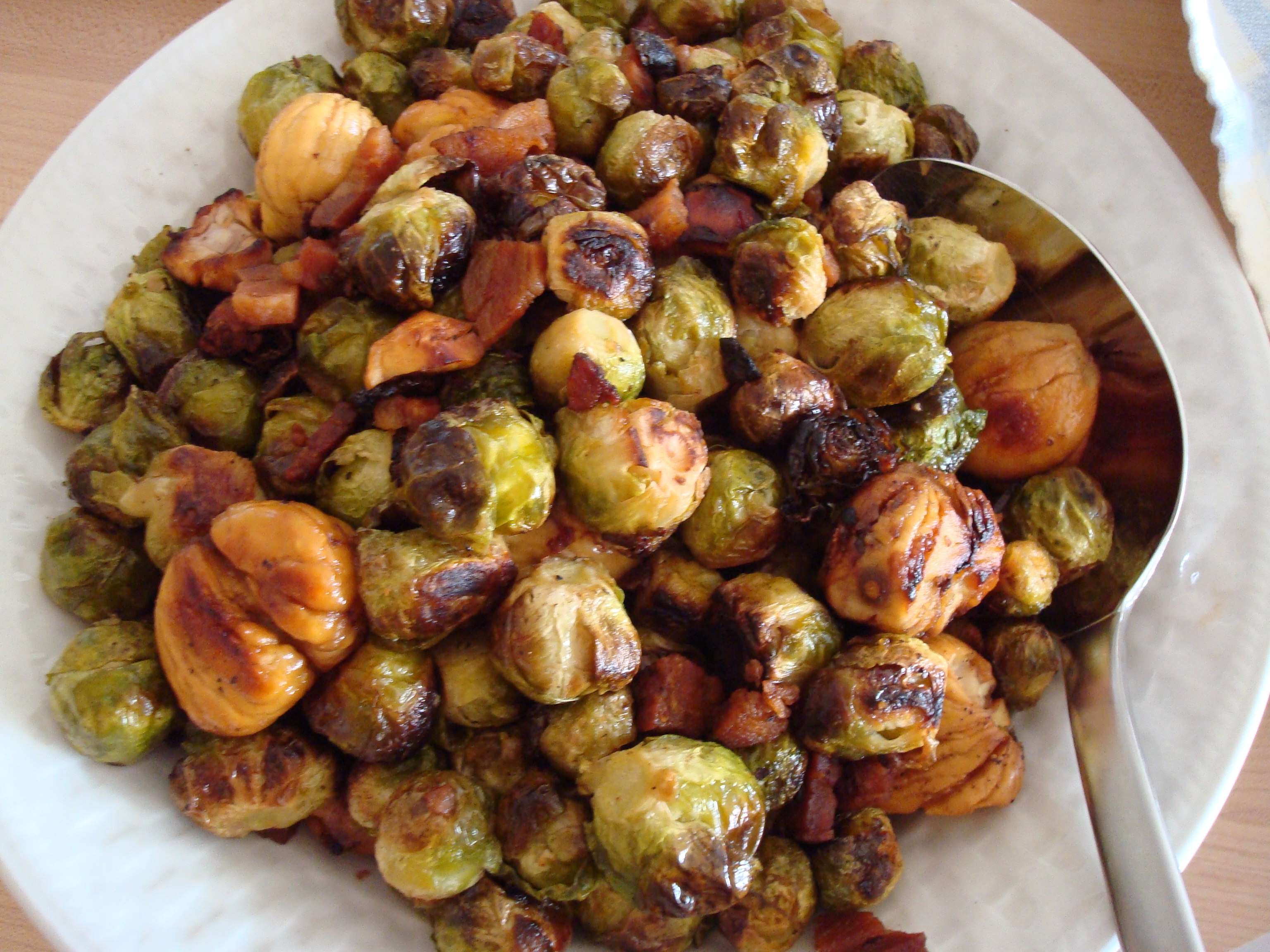 Roasted Maple Brussels Sprouts with Pancetta and Chestnuts (recipe by ...