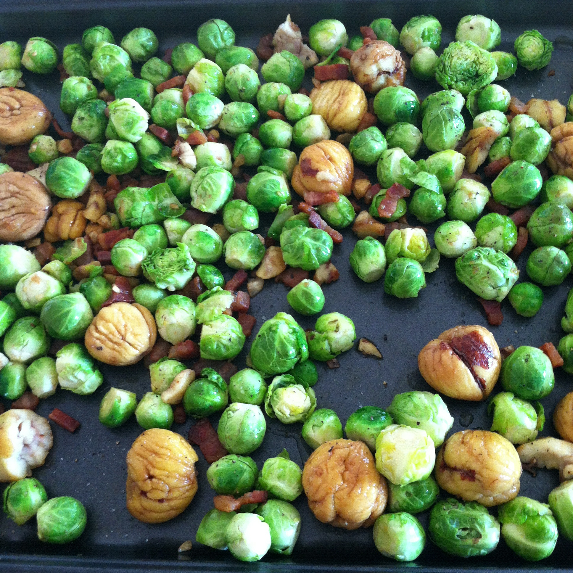 roasted maple Brussels sprouts with pancetta and chestnuts ...